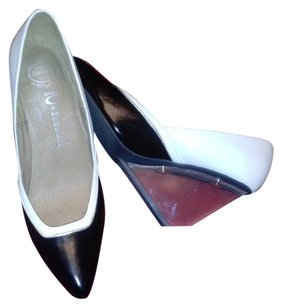 Jeffrey Campbell Lucite Wedge Leather Havana black and white with silver trim Wedges
