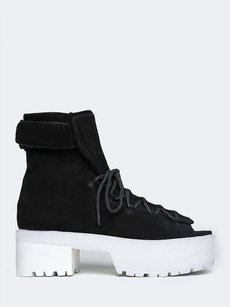 Jeffrey Campbell Platform Heel Leather Lace Up Open Toe Black Boots