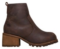 Jeffrey Campbell Zip Closure Stacked Heel Distressed Ankle Brown Boots