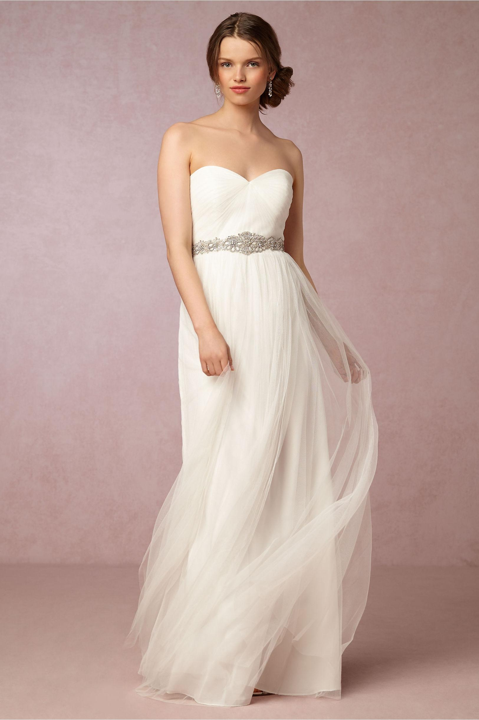 Jenny Yoo White Polyester Anthropologie Annabelle Casual Wedding Dress Size  14 (L) ...