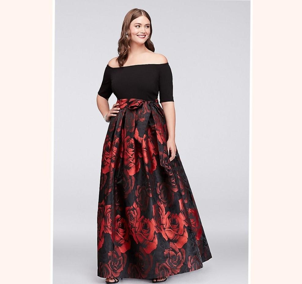 Jessica Howard Red Polyester Spandex Off-the-shoulder ...