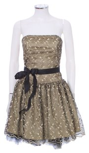 Jessica McClintock Lace Tuelle Strapless Layered Tiered Embellished Dress