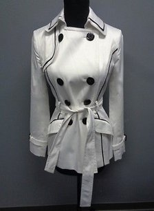 Jessica Simpson White Black Double Breasted Belted Sma10975 Coat