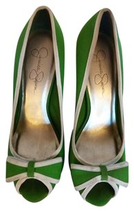Jessica Simpson Bow Tie Lime Sexy Adorable Green/White Pumps