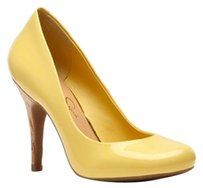 Jessica Simpson Yellow Cork Bright Patent Chiffon Lemon Yellow Pumps