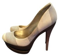 Jessica Simpson Stripe Wedge Woodgrain Sand Platforms