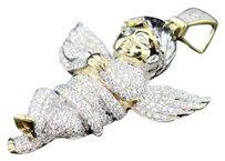 10k Diamond Angel Yellow Gold Mens Ladies Cherub Pendant Charm 4.89 Ct