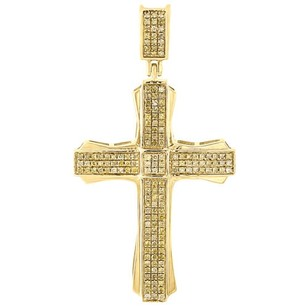Jewelry For Less 10k Gold Canary Yellow Diamond Cross Pendant Mens Pave Set Design Charm 0.40 Ct.