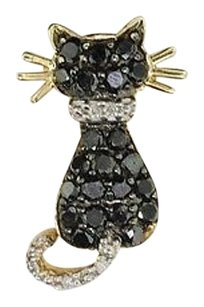 10k Ladies Yellow Gold Black Diamond Whisker Cat Tail Pendant Charm For Necklace