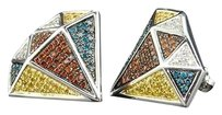 10k Mens Ladies White Gold 0.70ct Red Blue Yellow Diamond Shaped Studs Earring