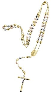 10k Mens Or Ladies Tri Color Real Gold Rosary Diamond Cut Necklace Chain Inch