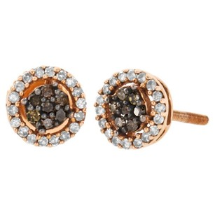 Jewelry For Less 10k Rose Gold Brown Diamond Flower Studs Halo Cluster 7mm Earrings 0.25 Ct.