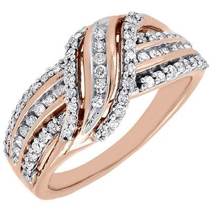 Jewelry For Less 10k Rose Gold Round Cut Diamond Designer Fashion Ring Cocktail Band 12 Ct.