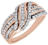Other 10k Rose Gold Round Cut Diamond Designer Fashion Ring Cocktail Band 12 Ct.
