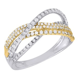 Other 10k Two Tone Gold Diamond Ladies Twist Overlay Fashion Anniversary Band 0.50 Ct.