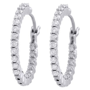 Other 10k White Gold Diamond In Out Hoops 0.83 Long Round Hinged Earrings 1 Ct.