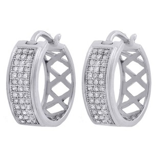 Other 10k White Gold Genuine Round Diamond Pave Hoop Huggie Mj Earrings 0.27 Ct.
