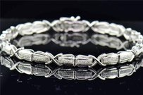 Jewelry For Less 10k White Gold Ladies Round Pave Set Diamond Link Designer Bracelet 7.5 0.30 Ct