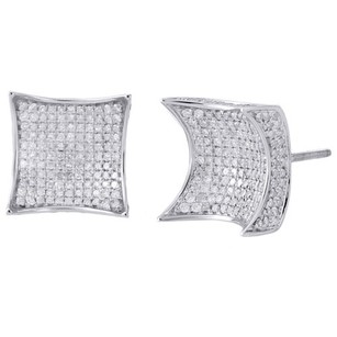 Other 10k White Gold Round Diamond 3d Kite Pave Stud Mens Ladies Earrings 2.25 Ct.