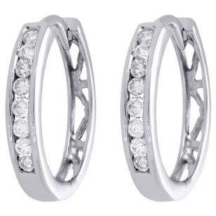 Jewelry For Less 10k White Gold Round Diamond Channel Set 15mm Hinged Hoop Earrings 0.25 Ct.