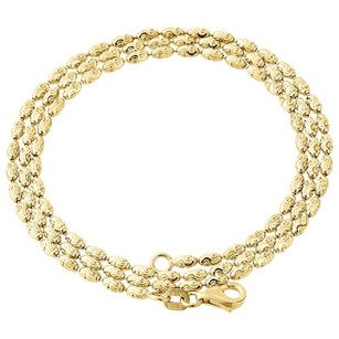 Other 10k Yellow Gold 2mm Rice Typhoon Moon Cut Italian Bead Chain Necklace 16-24 Inch