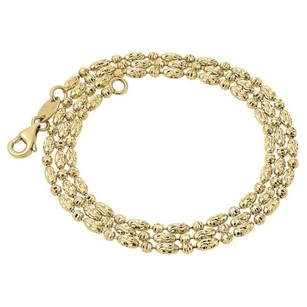 Jewelry For Less 10k Yellow Gold 2mm Typhoon Moon Cut Link Chain Diamond Cut Necklace 16-30 Inch