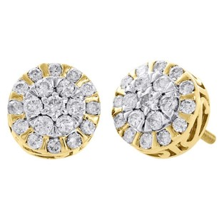 10k Yellow Gold 3d Diamond Studs Flower Set Circle Frame 9.75mm Earrings 1 Ct.