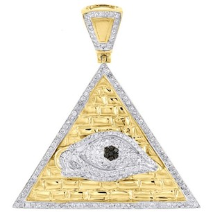 Jewelry For Less 10k Yellow Gold Black Diamond All Seeing Eye Pendant Pyramid Charm 1.20 Ct.