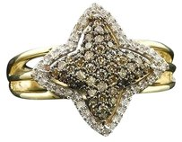 10k Yellow Gold Brown Diamond Round Cut Star Right Hand Band Cocktail Ring