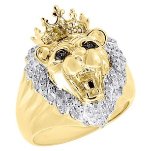 Jewelry For Less 10k Yellow Gold Canary Round Diamond Lion Head King Crown Pinky Ring 0.35 Ct.