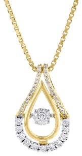 10k Yellow Gold Dancing Diamond Shimmering Teardrop Slide Pendant Chain 0.25 Ct.