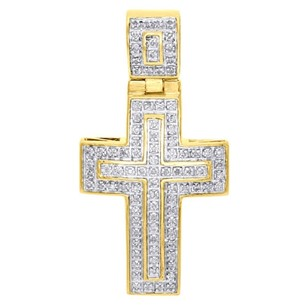 Jewelry For Less 10k Yellow Gold Diamond Mini Domed Outline Cross Pendant 1.45 Mens Charm 14 Ct