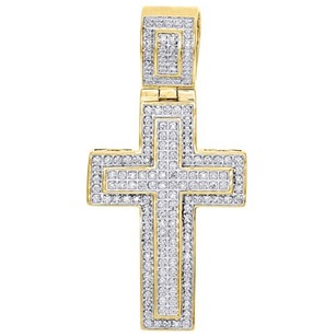 10k Yellow Gold Diamond Mini Outlined Cross Pendant 1.95 Mens Flat Charm 12 Ct