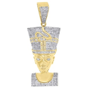 10k Yellow Gold Diamond Nefertiti Pendant Egyptian Queen 2.30 Charm 1.33 Ct.