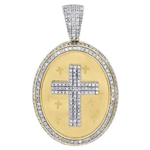 10k Yellow Gold Diamond Oval Medallion 3d Cross Pendant 1.40 Mens Charm 0.75 Ct