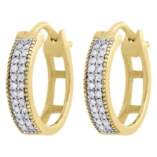 10k Yellow Gold Genuine Diamond Mj Hoops Huggie 0.50 Ladies Pave Earrings 0.17