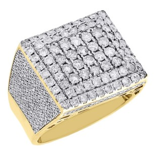 10k Yellow Gold Genuine Diamond Pinky Ring Square Pave Statement Band 3.05 Ct.