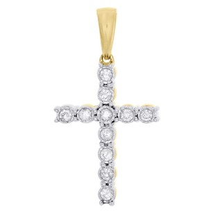 Jewelry For Less 10k Yellow Gold Genuine Miracle Set Diamond Cross Pendant 1.20 Charm 0.40 Ct.