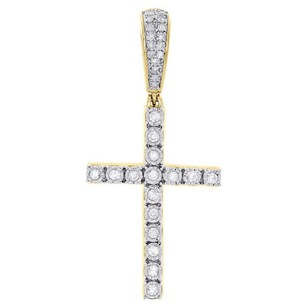 Jewelry For Less 10k Yellow Gold Genuine Miracle Set Diamond Cross Pendant 1.90 Charm 0.55 Ct.