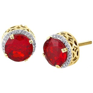 Other 10k Yellow Gold Genuine Round Diamond Ruby Gemstone Earrings Halo Stud 0.19 Ct
