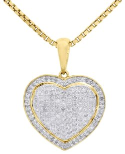 Other 10k Yellow Gold Ladies Round Diamond Pave Puff Dome Heart Pendant Charm 0.58 Ct.