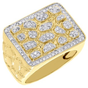Jewelry For Less 10k Yellow Gold Mens Round Cut Diamond Nugget Style Pave Set Pinky Ring 0.77 Ct.