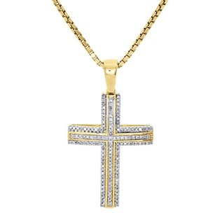 Jewelry For Less 10k Yellow Gold Natural Diamond Cross Pendant Raised Outline Domed Charm 0.24 Ct