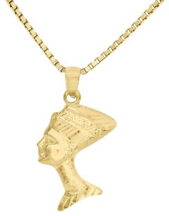 Other 10k Yellow Gold Nefertiti Egyptian Queen Pendant 1.05 Charm 18 Box Chain