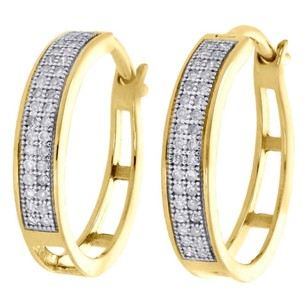 Jewelry For Less 10k Yellow Gold Pave Set Round Diamond 3.6mm Hinged Hoop Earrings 0.20 Ct.