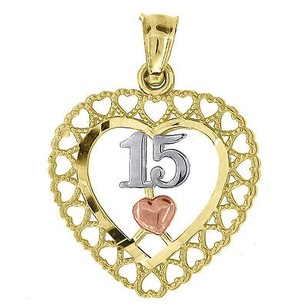 Jewelry For Less 10k Yellow Gold Quinceanera Center Heart Pendant 0.80 Cut Out Charm