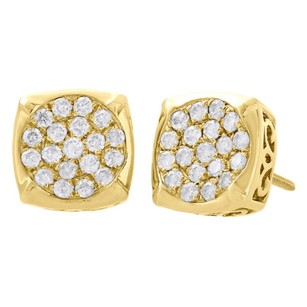 Other 10k Yellow Gold Real Round Diamond Studs Concave Square 9.25mm Earrings 0.57 Ct.