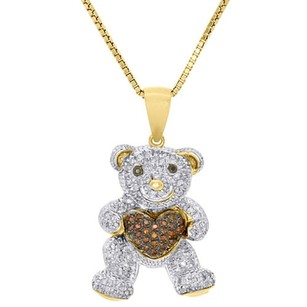 Jewelry For Less 10k Yellow Gold Red Diamond Teddy Bear Holding Heart Pendant 18 Chain 0.29 Ct