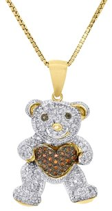 10k Yellow Gold Red Diamond Teddy Bear Holding Heart Pendant 18 Chain 0.29 Ct