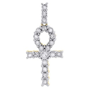 10k Yellow Gold Round Cut Diamond Egyptian Ankh Cross Pendant Mini Charm 0.37 Ct